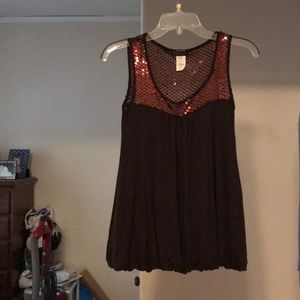 Kld signature brown tank with sequins size small
